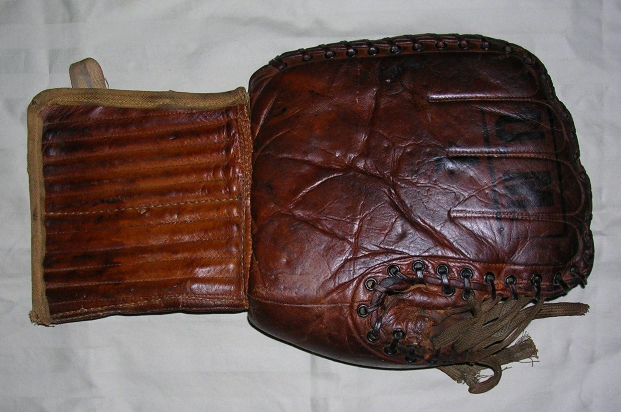 1920s Antique Ice Hockey Goalie Glove - Backside  1775327088