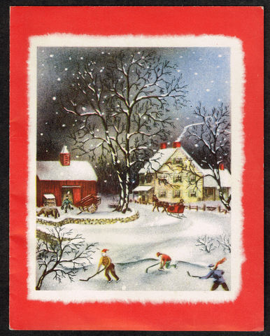 Vintage Hockey Christmas Card 1950s