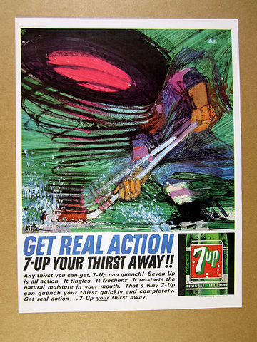 Vintage 7-Up Ad with Hockey Art by Bob Peak 1964