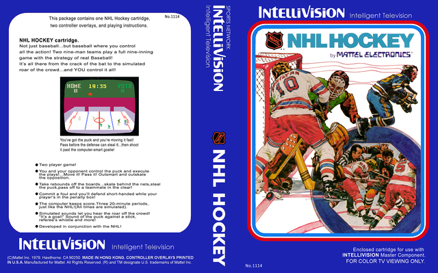 Intellivision NHL Hockey Game by Mattel Electronics 1979