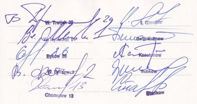 Soviet Hockey Player Autographs from 1983 World Championships -A