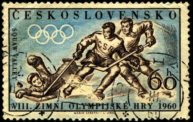 Czechoslovakia Stamp for Hockey at 1960 Squaw Valley Olympics