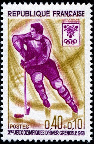 France Stamp for Ice Hockey at 1968 Grenoble Winter Olympics