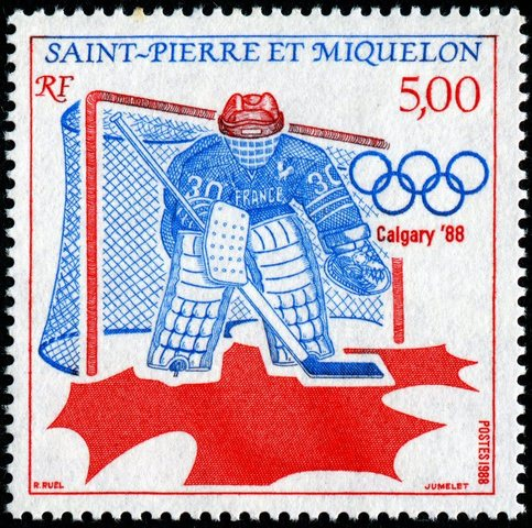Saint Pierre and Miquelon Stamp for Hockey at Calgary Olympics