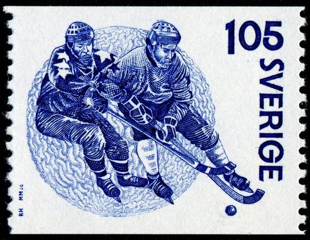 Sweden Stamp with Bandy Players Jan Alinski & Bernt Ericsson