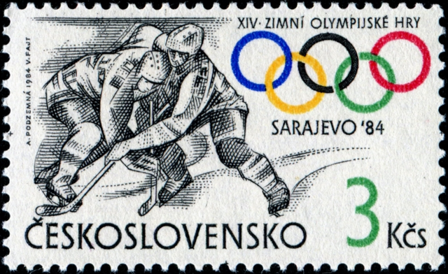 Czechoslovakia Stamp for Hockey at 1984 Sarajevo Winter Olympics