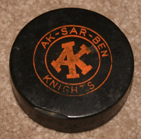Omaha Knights / Ak-Sar-Ben Knights Ice Hockey Puck 1961
