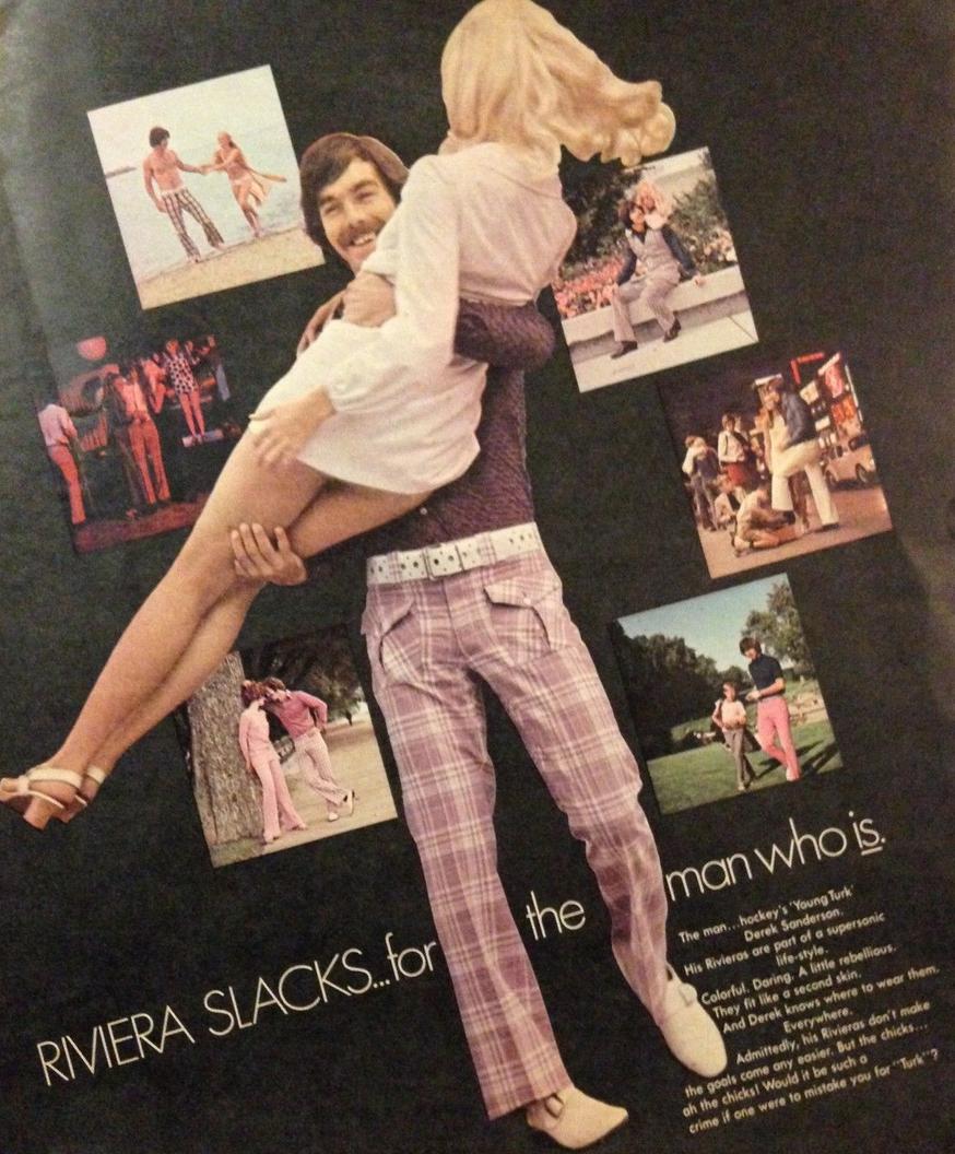 Derek Sanderson Ad For Riviera Slacks 1969 Hockeygods