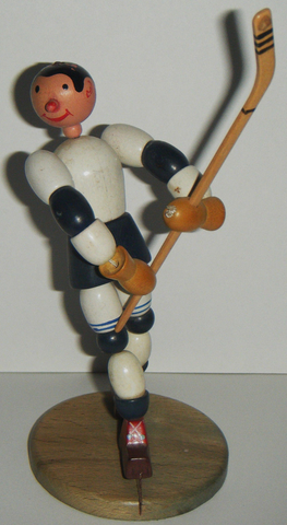 Wood Hockey Figure with Moving Parts - 1948 West Germany