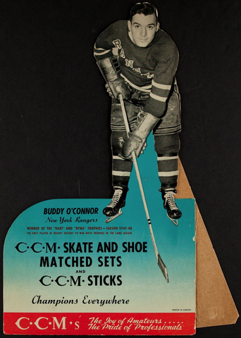 Buddy O'Connor Advertising Sign for CCM Skate and Sticks 1949
