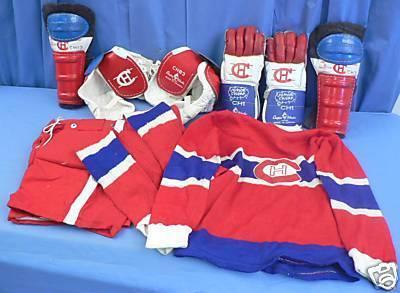 Ice Hockey Equipment 1950s Kids Set Montreal Canadiens