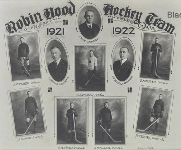 Robin Hood Hockey Team - Moose Jaw City League Champions 1922