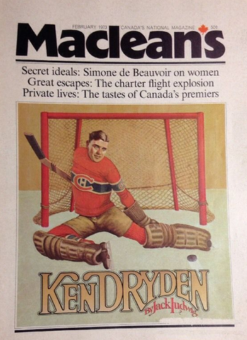 Ken Dryden illustration on the cover of Maclean's Magazine 1973