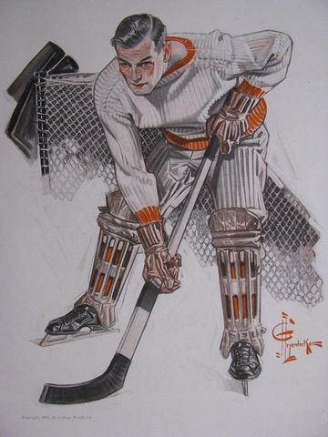 The Goal Keeper by J. C. Leyendecker 1911 Antique Ice Hockey Art