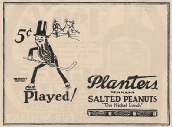 Mr. Peanut - Planters Peanuts Hockey Ad 1931
