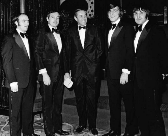 Lemaire, Mahovlich, Béliveau, Savard, Lapointe in Tuxedos 1970s