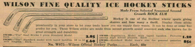 Wilson Hockey Sticks Ad 1933 - Rock Elm Hockey Sticks