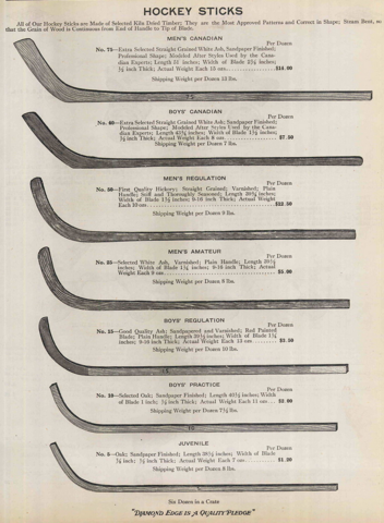 Antique Hockey Sticks 1910 Norvell-Shapleigh Hardware Company Ad