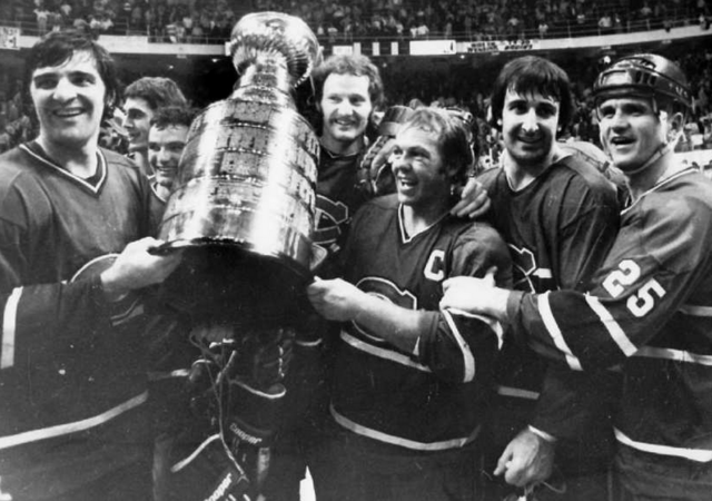 Montreal Canadiens Celebrate with the Stanley Cup in 1977