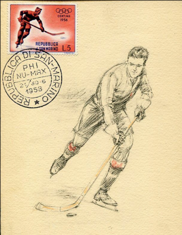 Republic of San Marino Hockey Stamp 1956 and Hockey Art 1958