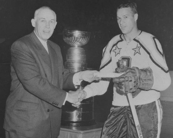 Clarence Campbell Congrats Gordie Howe on his 14th All-Star game