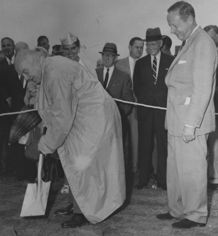"Fred ""Cyclone"" Taylor turns the sod at Hockey Hall of Fame 1960"
