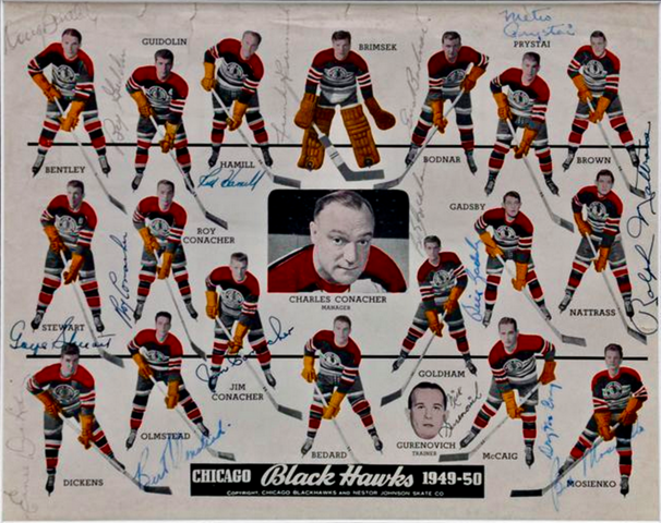 Autographed Chicago Black Hawks Team Photo 1949 - 50