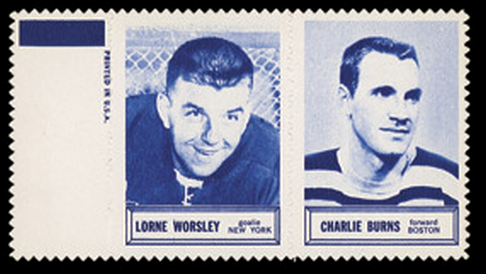 1961 Topps Hockey Stamp Panels - Lorne Worsley & Charlie Burns
