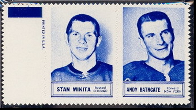 1961 Topps Hockey Stamp Panels - Stan Mikita & Andy Bathgate