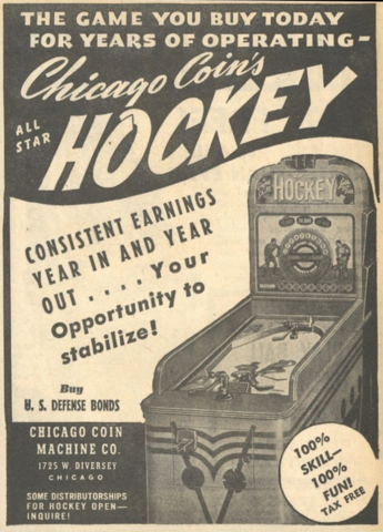 All Star Hockey Pinball Machine Ad by Chicago Coin Co 1942