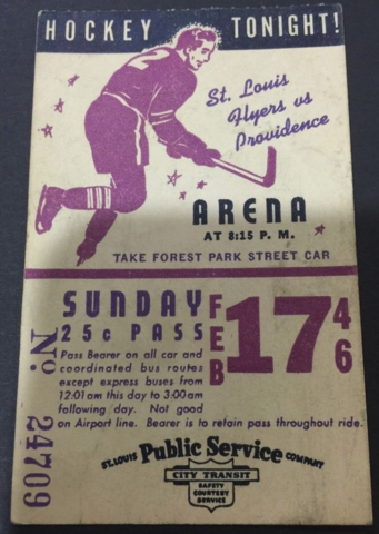 St. Louis Flyers Hockey Bus Pass 1946