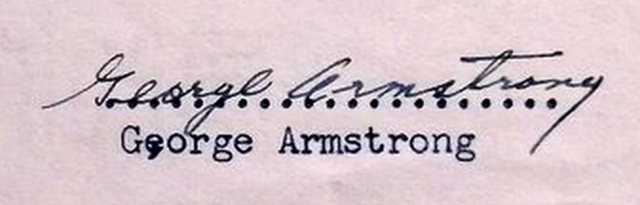 George Armstrong Autograph 1948