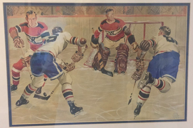 Vintage Hockey Art - Game Action by John Cullen Murphy 1949