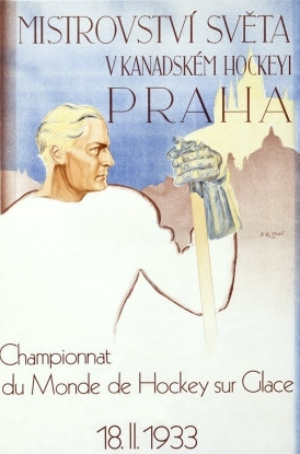 1933 World Ice Hockey Championships Poster in Prague, Czech
