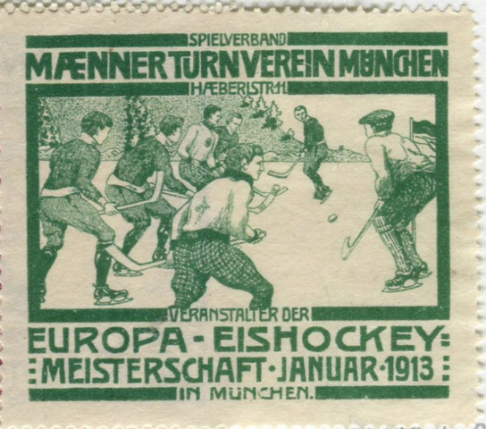 Hockey Stamp for 1913 European Ice Hockey Championships Munchen