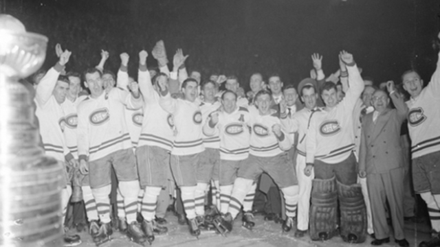 Montreal Canadiens with the Stanley Cup at Montreal Forum 1953