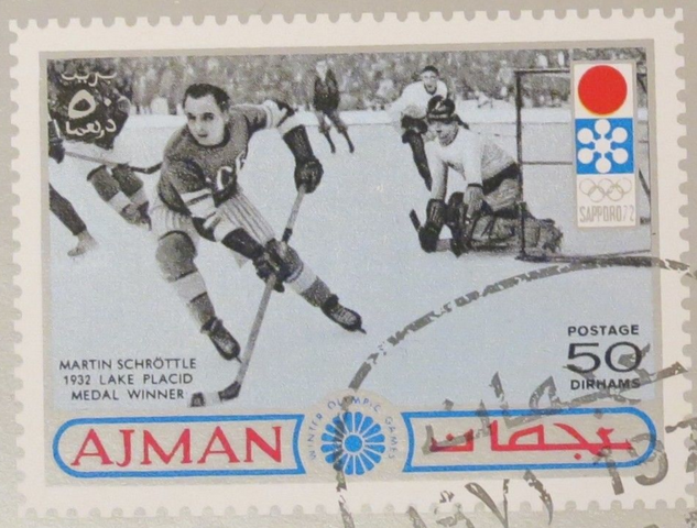 Ice Hockey Stamp with Martin Schröttle for 1972 Sapporo Olympics
