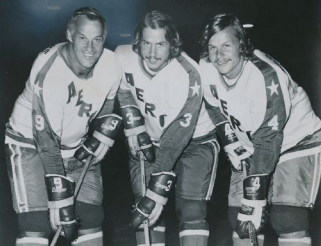 Gordie Howe, Marty Howe & Mark Howe  of the Houston Aeros 1973