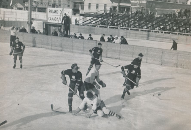 Lake Placid 1932 Winter Olympics Hockey action Canada vs Poland