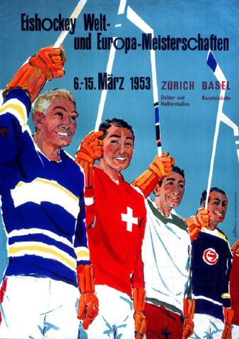 1953 World Ice Hockey Championships Poster