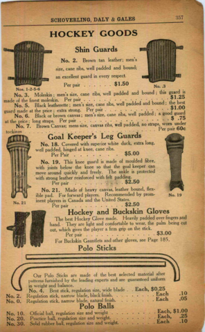 Schoverling, Daly & Gales Hockey Goods Catalog & Price List 1916