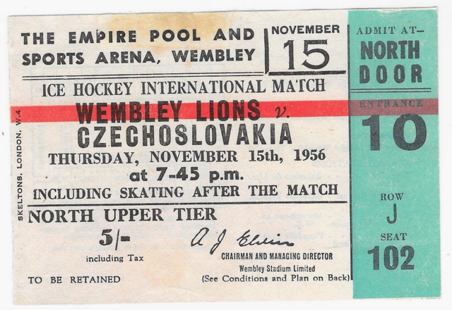 Vintage Hockey Ticket Wembley Lions vs Czechoslovakia 1956