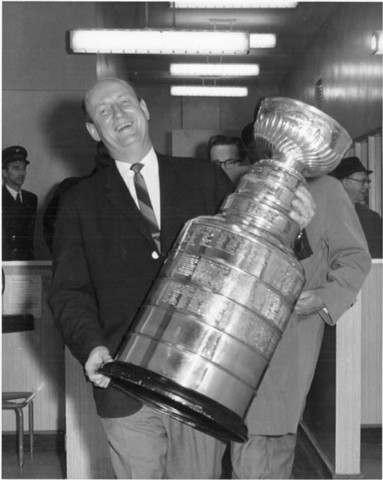 Toronto Maple Leafs Coach Punch Imlach with the Stanley Cup 1962