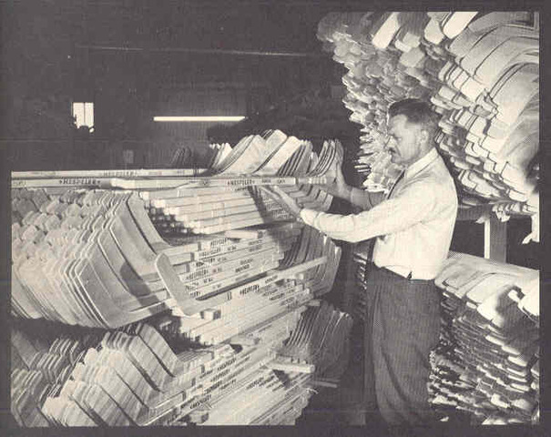 Hespeler Hockey Sticks ready for shipping at the factory 1969