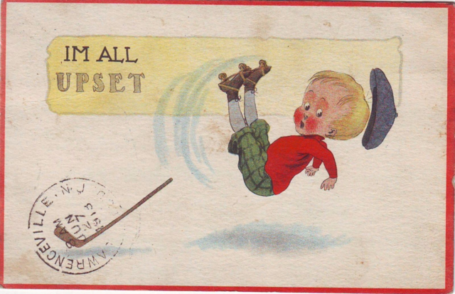 Roller Hockey Postcard - Im All Upset 1913
