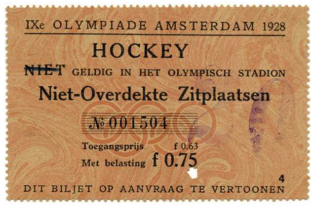 1928 Summer Olympic Games Field Hockey Ticket in Amsterdam