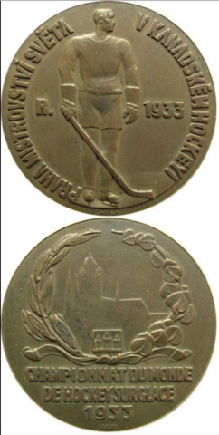 1933 World Ice Hockey Championships Bronze Medal won by Czechoslovakia