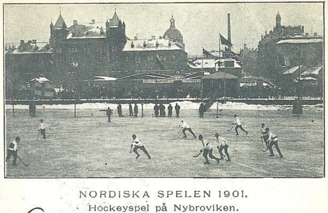Nordic Games Hockey Match on the Nybroviken  1901 - Antique Bandy
