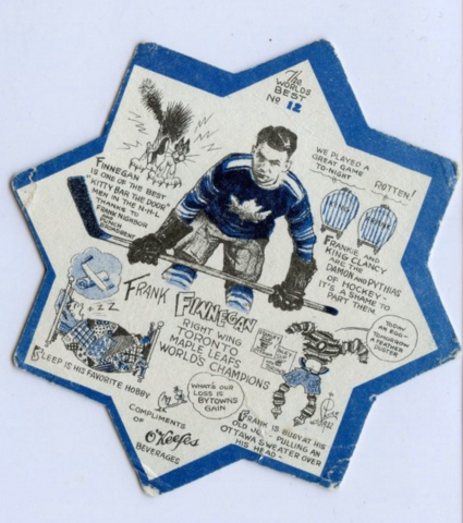 O'Keefe's Coaster #12 Frank Finnigan - Drawn by Lou Skuce 1932