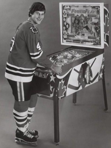Bobby Orr playing the Bally Power Play Bobby Orr pinball game 1978